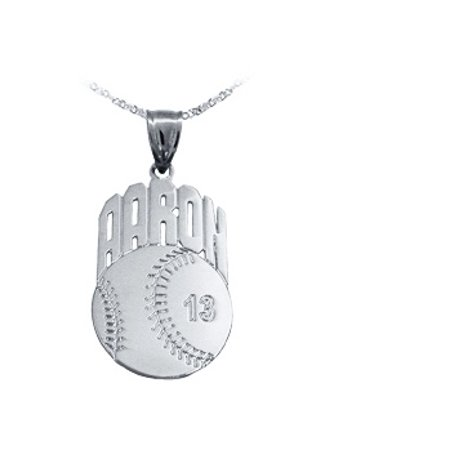 Sport Charm Baseball - Baseball Sport Charm Personalized with Name and Number - Sterling Silver - Made in USA