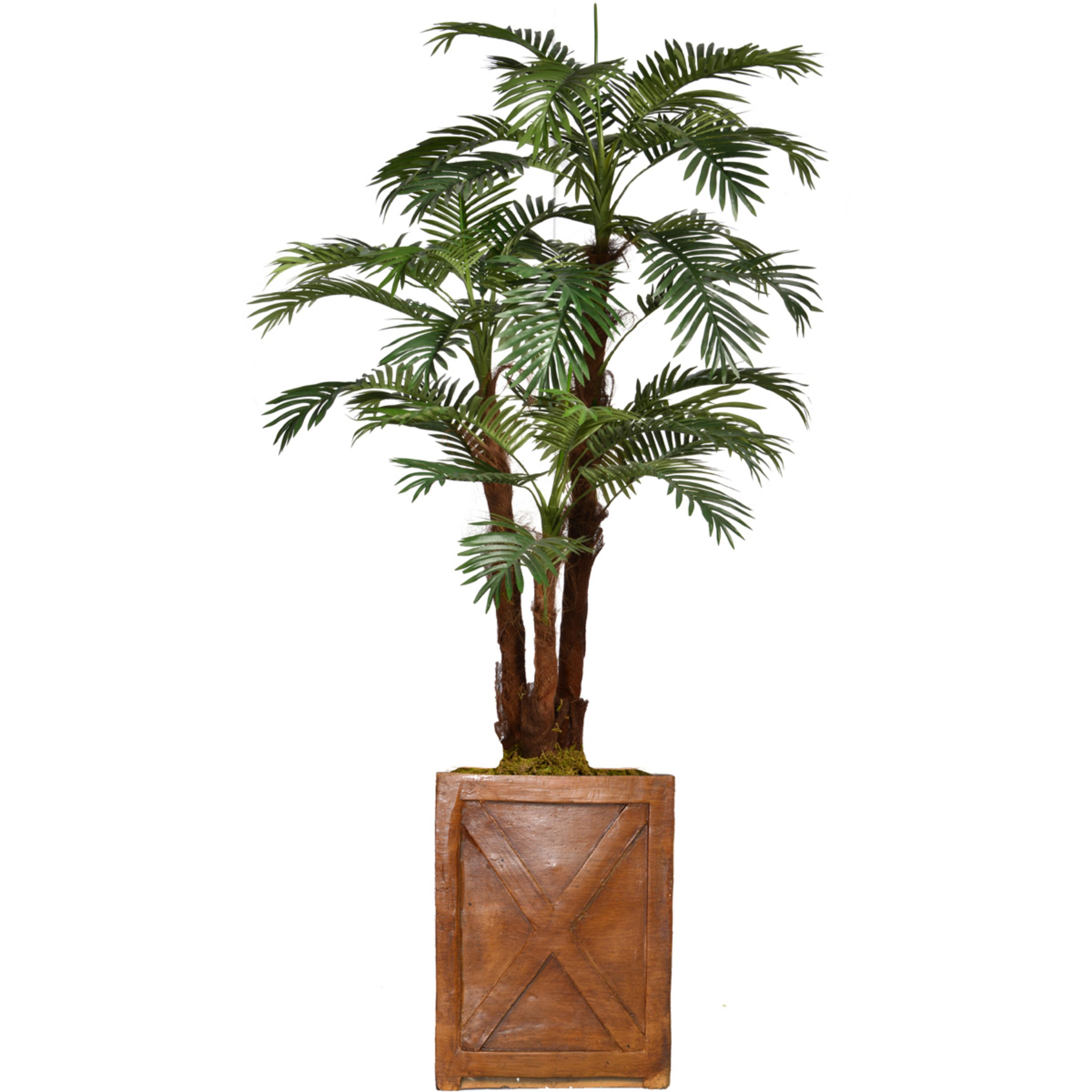 """75"""" Tall Palm Tree Artificial Decorative Indoor/ Outdoor Faux with Burlap Kit and Fiberstone Planter By Minx NY"""
