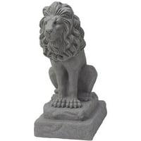 "EMSCO Guardian Lion 28"" Garden Statue – Natural Granite Appearance"