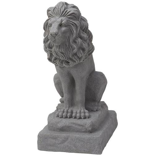 "Guardian Lion Statue – Natural Sandstone Appearance – Made of Plastic Resin – Lightweight – 28"" Height"