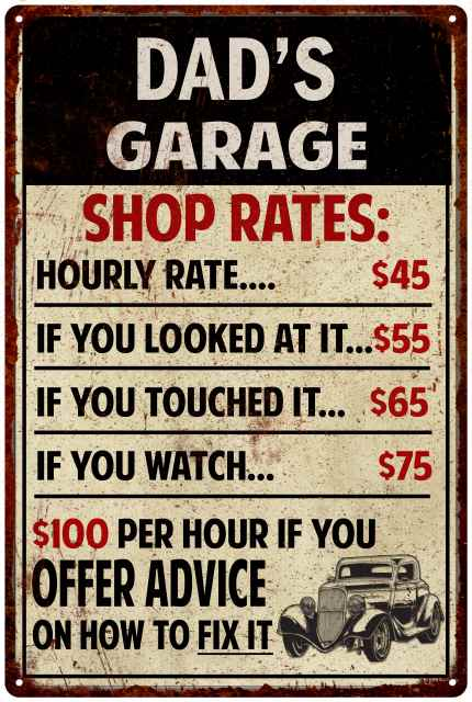 """~Dad/'s Garage Free advice always right~ 8/"""" x 12/"""" METAL SIGN Novelty"""