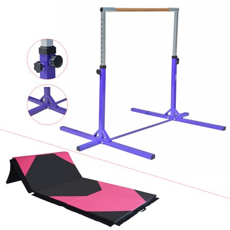 Adjustable Height Kip Bar Pro w/ Thick Folding Mat  8' / 10' | Junior Training Gymnastics Horizontal Bar Beech Wood - Purple (Gymnastic Bag)