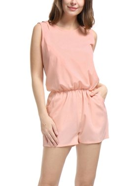 2494c4dab192 Product Image Women s Sleeveless Cut Out Back Elastic Waist Romper Pale  Pale Pink L (US ...