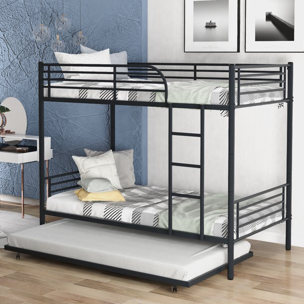 Enyopro Bunkbed With Roll Out Trundle Bed Frame Metal Bunk Bed Can Be Divided Into Two