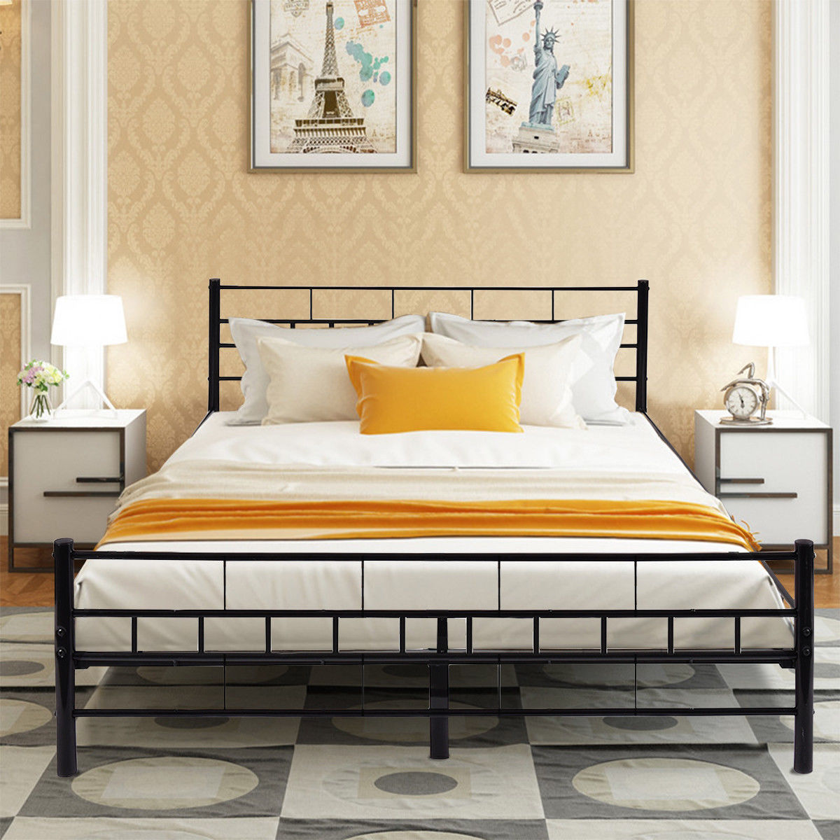 Costway Queen Size Wood Slats Bed Frame Platform Headboard Footboard