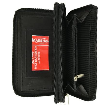 Ladies Checkbook Organizer Genuine Leather Zip Around Clutch Wallet 4575 CF (C) Black