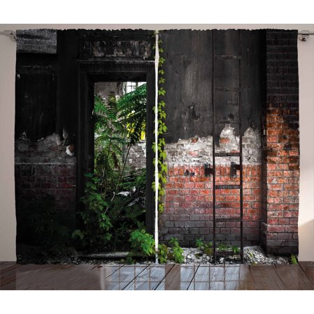 Industrial Curtains 2 Panels Set, Old Door Opening in a Desolate Industry Building Brick Wall with Ivy Plants, Window Drapes for Living Room Bedroom, 108W X 63L Inches, Multicolor, by