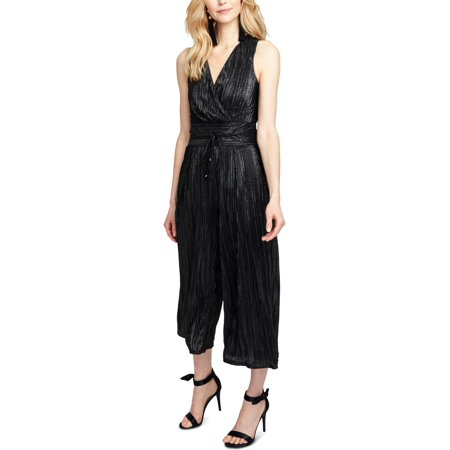 Foil Jumpsuit - Rachel Rachel Roy Womens Pleated Cropped Jumpsuit Black 8