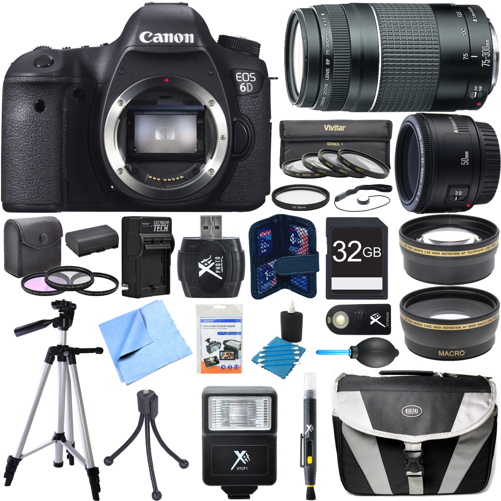 Canon EOS 6D 20.2MP Digital SLR Camera Super Bundle inclu...
