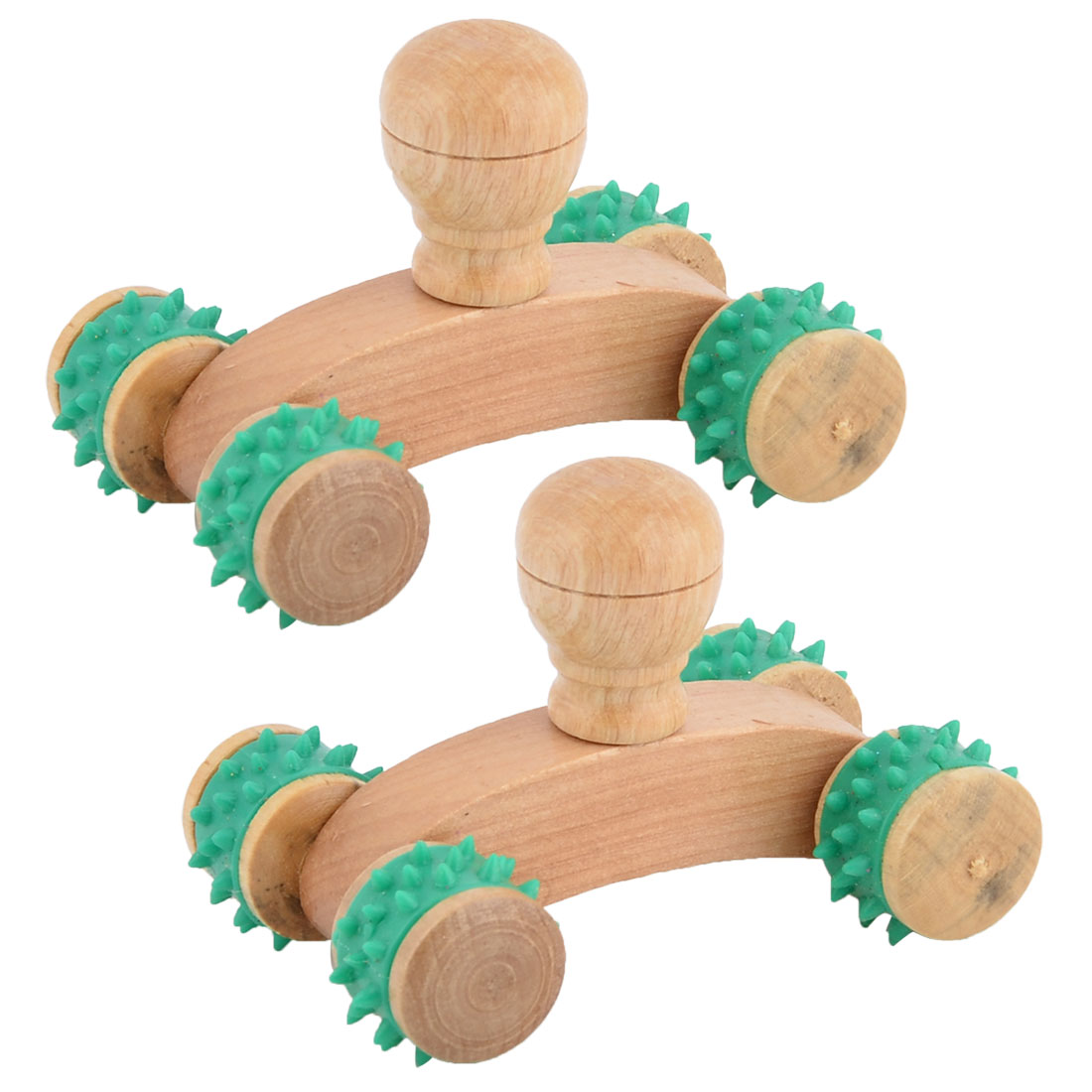 Unique BargainsHome Wooden Portable Stress Relief Body Neck Muscle Massage Roller Green 2pcs