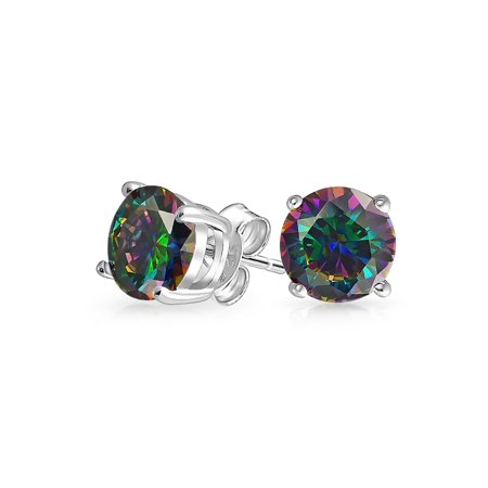 Round Black Mystic Rainbow Cubic Zirconia Solitaire CZ Stud Earrings For Men For Women 925 Sterling Silver More Sizes
