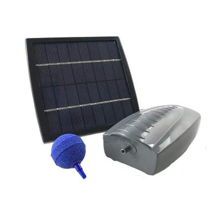 Solar Powered Air Pump Kit, one airing stone, 2+LPM Air Pump & 1.5W Solar Panel for Fish Pond, Aquaculture, Hydroponics, Bubbleponics ()