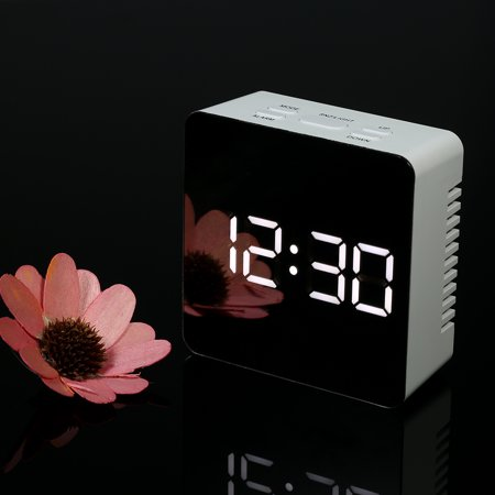 Digital LED Mirror Clock 12H/24H Alarm and Snooze Function °C/°F Indoor Thermometer Adjustable LED Luminance - image 3 de 7
