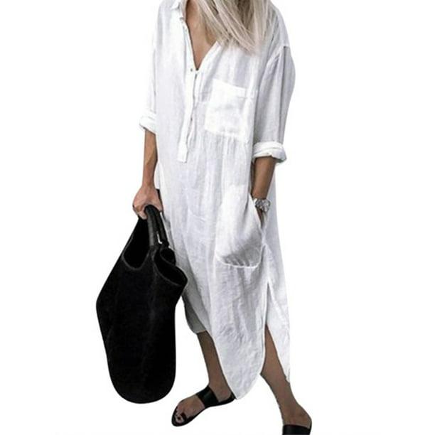 Sexy Dance Womens Linen-Cotton T Shirt Dress Long Sleeve Plain Tunic Dress Button Down Maxi Dress For Lady Vintage Swing Dress Side Slit Pockets Plus ...