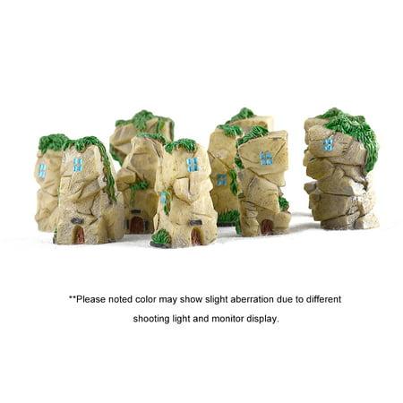 10pcs/set Mini Stone Castle Fairy Garden Resin DIY Craft Ornaments Miniature Landscape Model Home Decoration Photography Props Children's Toys (random style) - image 2 de 7