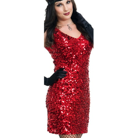 Womens Dazzling Darling Flapper Red Sequin Dress Costume