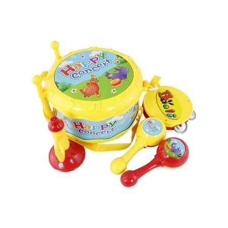 Elegantoss 4 in 1 Musical Music Band Drum Set Instrument Set including drum trumpet tambourine & maracus. For Kids and Toddlers