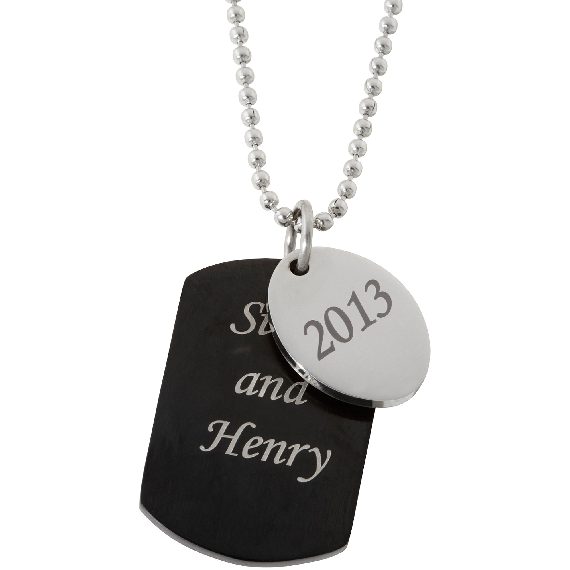 Personalized Men's Black Stainless Steel Tag and Oval Dangle Pendant