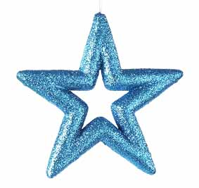 "5.25"" Vibrant Blue Glitter Drenched Star Christmas Ornament"