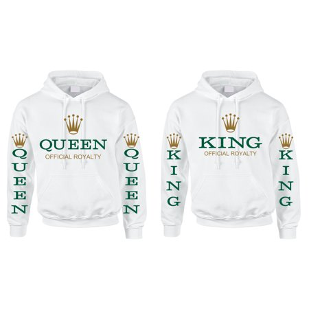 fd67fedf1a Allntrends - Allntrends Couple Hoodies King Queen Royalty Green Valentine's  Day Love Gift (Womens 2XL Mens 2XL, White) - Walmart.com