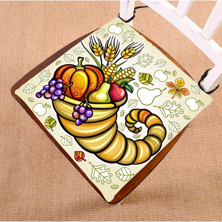 YKCG Thanksgiving Theme Harvest Cornucopia Seat Cushion Chair Cushion Floor Cushion Twin Sides 16x16 inches - Thanksgiving Theme