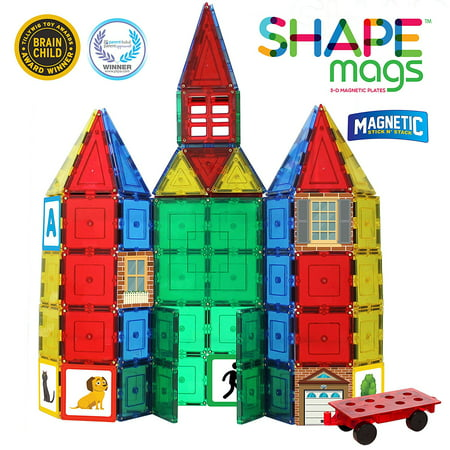 Shape Mags 124 Piece Classic Magnetic Tiles Building Set. Includes 100 Magnet Tiles and 24 Graphic Stile Mags. Made with Power+Magnets
