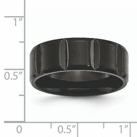 Titanium Grooved Black Plated 8mm Brushed Wedding Ring Band Size 8.50 Fashion Jewelry For Women Gifts For Her - image 5 of 10
