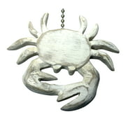 Whitewashed Coastal Crab Hand Carved Wood Ceiling Fan Light Pull