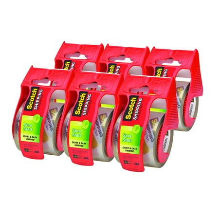 Scotch Sure Start Shipping & Packaging Tape Dispenser 6 Pack