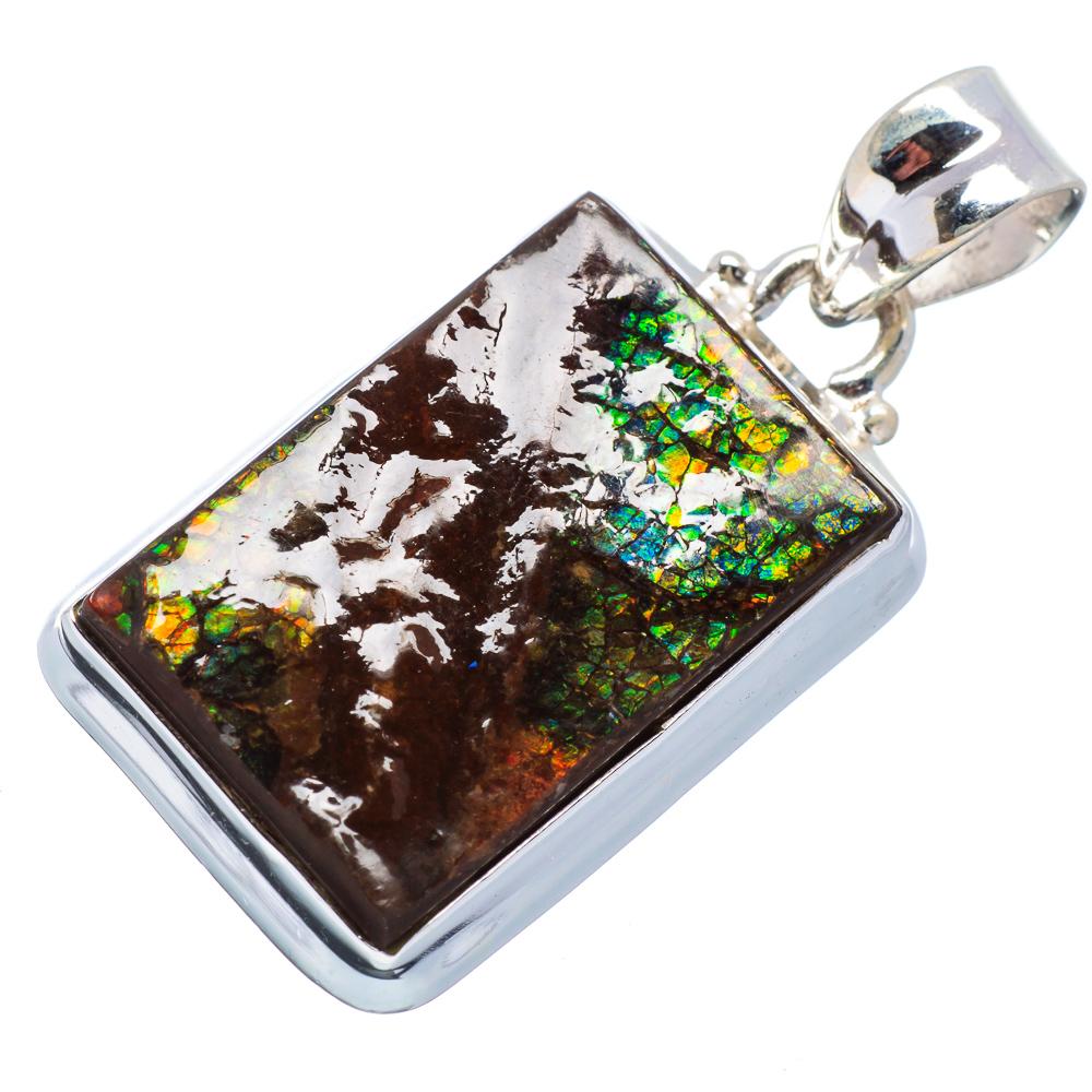"Ana Silver Co Ammolite Pendant 1 1/2"" (925 Sterling Silver) - Handmade Jewelry PD615723"