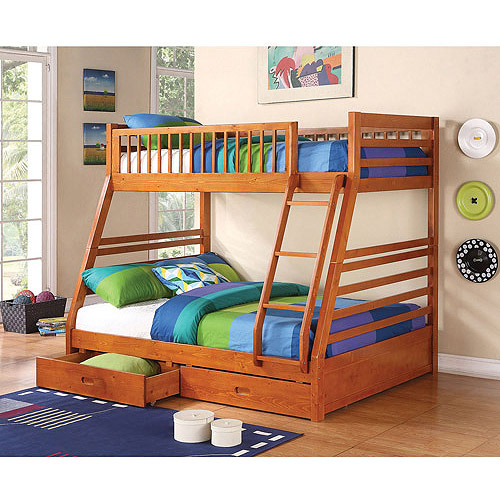 coaster ogletown twin over full wood bunk bed with storage honey oak