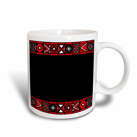 3dRose Red and Black African Pattern - Art of Africa Inspired by Zulu Beadwork Geometric designs, Ceramic Mug, 11-ounce