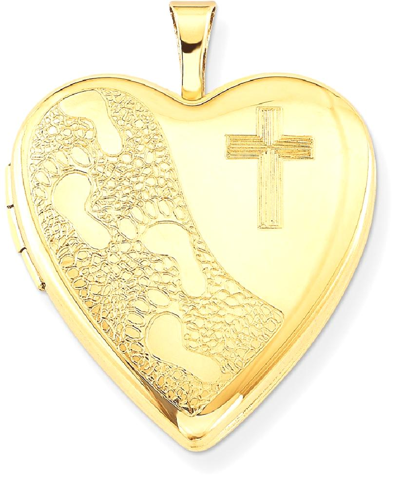ICE CARATS 1 20 Gold Filled 20mm Cross Religious Footprint Heart Photo Pendant Charm Locket Chain Necklace That Holds... by IceCarats Designer Jewelry Gift USA