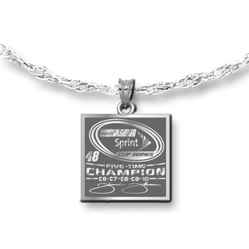 "Jimmie Johnson Necklace: ""#48"" 5X Champion Sterling Silver Necklace"