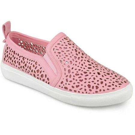 Brinley Co. Women's Faux Leather Slip-on Laser-cut Sneakers