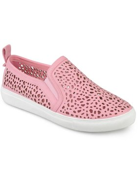 1b4310f0cb1ef1 Product Image Womens Faux Leather Slip-on Laser-cut Sneakers