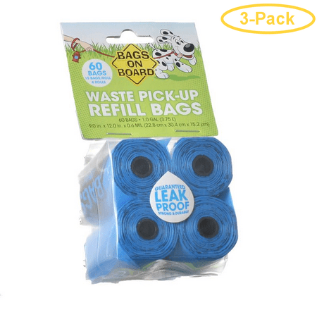 Bags on Board Waste Pick Up Refill Bags - Blue 60 Bags - Pack of 3 Blackened Board Bag