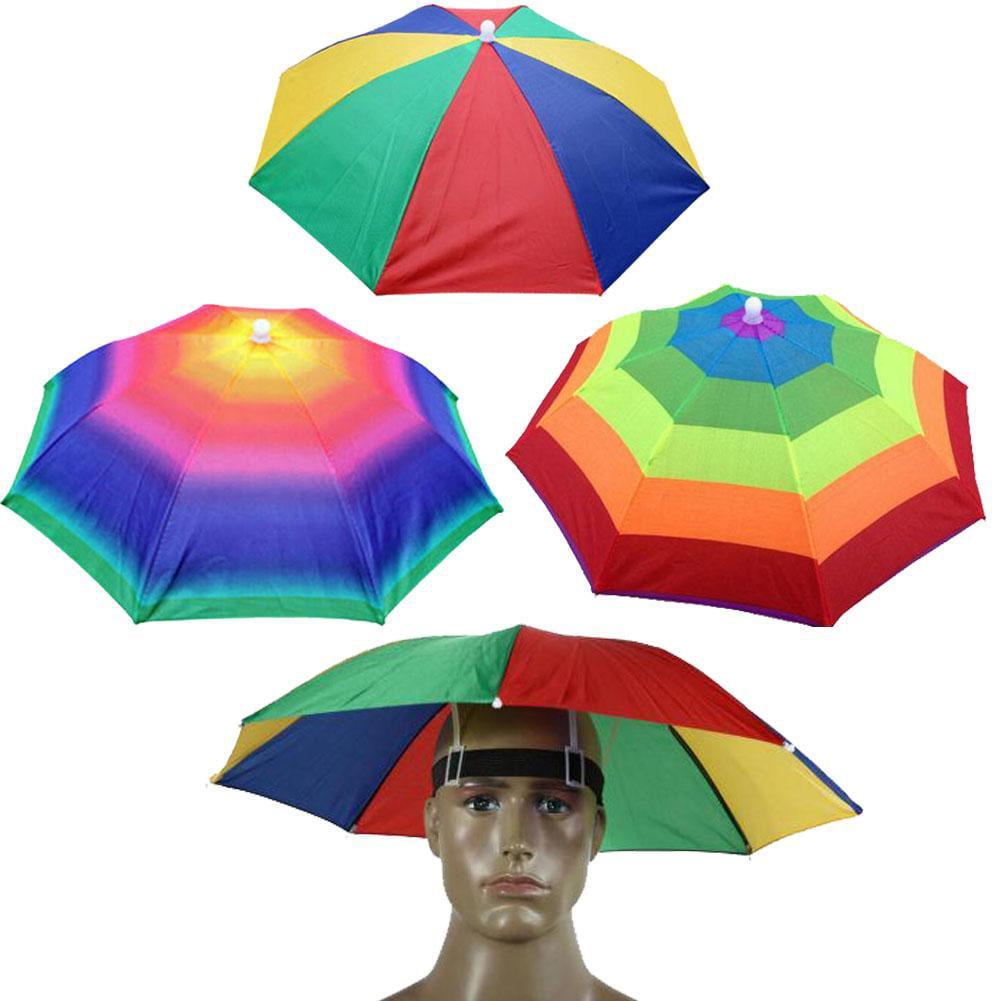 Rainbow Umbrella Hat Folding Sun-rain Umbrella Hat for Outdoor Activities