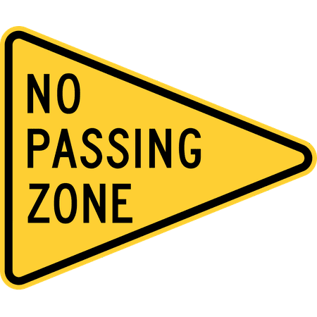 Traffic Signs - No Passing Zone (Iowa/Alabama/Arkansas/Utah/New Jersey) 10  x 7 Plastic PVC Sign Street Weather Approved Sign