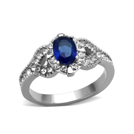 Women's 7x5mm Montana Blue Oval Cut CZ Center Stainless Steel Cocktail Ring - Size 8