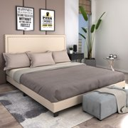 URHOMEPRO Modern Upholstered Platform Bed with Headboard, King Bed Frame with Heavy Duty Wood Slat Support for Adults Teens Children, Box Spring Required, Beige, I7667