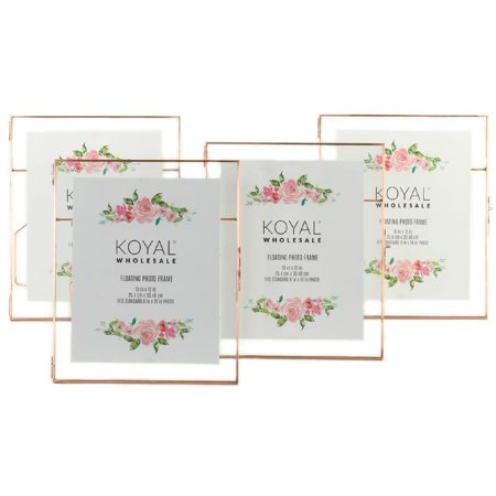 Wholesale Photo Frames (Koyal Wholesale Rose Gold Pressed Glass Floating Photo Frames 10 x 12-Inch,)