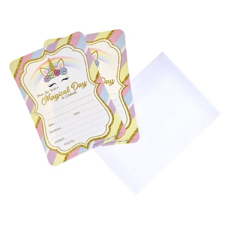 Magical Day Unicorn Birthday Baby Shower Invitation Set, 7-Inch, 12-Piece - Unicorn Invitations
