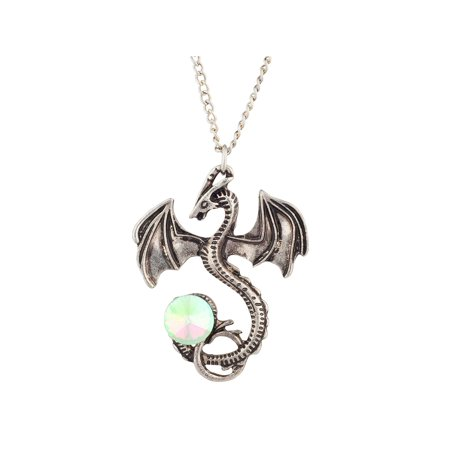 Lux Accessories Silver Tone Burnish Flying Dragon Rhinestone Tail Chain -