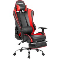 Merax 90-180 Degree Adjustable High Backrest Leather Racing Style Gaming Chair With Footrest, Red