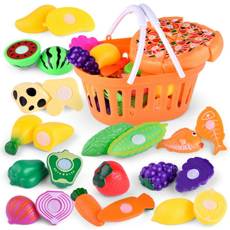 Outgeek 24Pcs Food Toy Set Realistic Fruits Vegetables Plastic Cutting Toys Kitchen Play Cooking