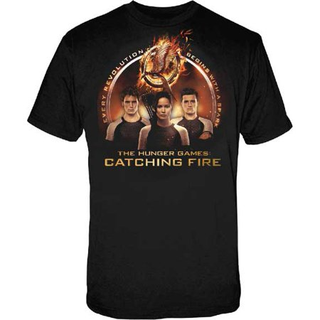 The Hunger Games 2: Catching Fire Trio with Spark Quote Mens Black T-Shirt | - Hunger Games Training Outfit