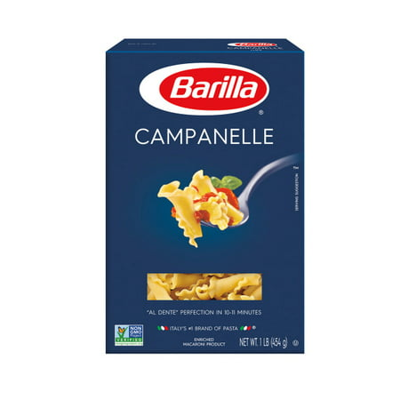 (5 Pack) Barilla Pasta Campanelle, 16 oz At Barilla, were passionate about pasta. After all, we have been pasta makers since 1877. As an Italian family-owned food company, Barilla pasta is synonymous with high quality and  al dente  perfection every time. Our Campanelle is made from the finest durum wheat and is non-GMO verified, peanut-free and suitable for a vegan or vegetarian diet.
