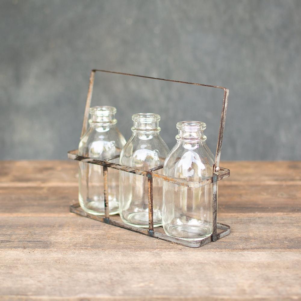 Table Decor Chicken wire basket wood handle three glass milk bottles ...