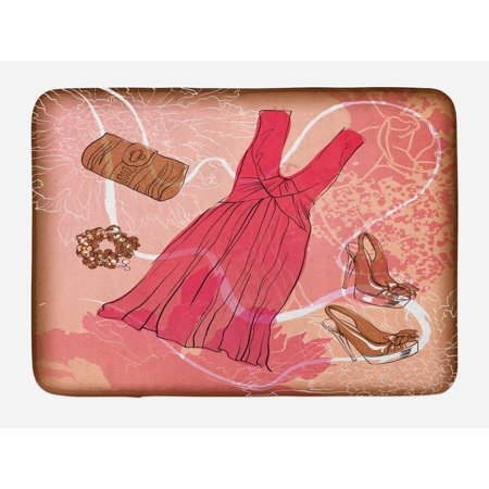Heels and Dresses Bath Mat, Spring Inspired Floral Abstract Backdrop Pink Dress Shoes Bracelet, Non-Slip Plush Mat Bathroom Kitchen Laundry Room Decor, 29.5 X 17.5 Inches, Pink Brown White, Ambesonne
